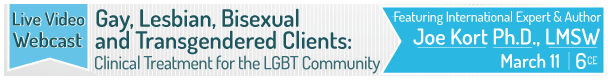Gay, Lesbian, Bisexual and Transgendered Clients Clinical Treatment for the LGBT Community Featuring International Expert & Authoer Jor Kort Ph.D., LMSW March 11 6CE Live Video Webcast